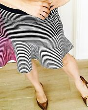 OHNE TITLE WOMENS SKIRT PINK STRIPE RAYON SPANDEX SHORT WORK PARTY SZ L