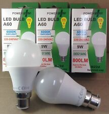 5 X POWERPLUS LED 9W (85W) A60 BC B22 ENERGY SAVING 6000K DAYLIGHT BULB BAYONET