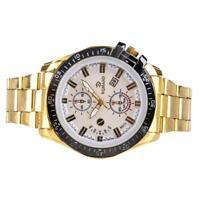 COOL Men's Gold Stainless Steel Band Quartz Analog Sport Wrist Watch White FT