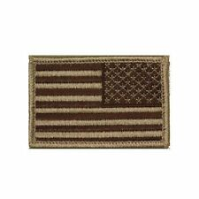 Tan Brown USA Stars and Stripes Self Adhesive Tactical Flag Patch 2x3in Reversed