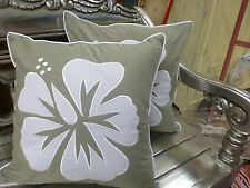 Cotton Cushion Covers Green White Hand Made Hibiscus Embroidery (pair) 40cm