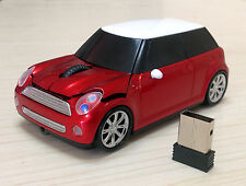 Red USB Optical 2.4G Wireless Mouse BMW Mini Cooper Car Mice PC MAC Gift 1600DPI