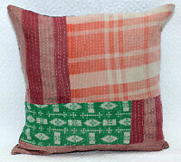 """Kantha Patchwork Cushion Cover Handmade Pillow Case 16"""" Indian Sofa Bed Decor"""