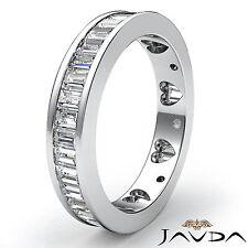 Baguette Diamond Womens Wedding Ring Heart Eternity Band 18k White Gold 2.10Ct