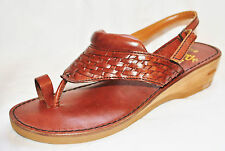 Chic BoHo Regency Brown Weaved Leather Slide Thong Sandals Shoes 7.5B