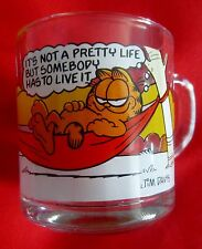 "Garfield Coffee Mug Glass Odie 1978 McDonalds  ""Not a Pretty Life"""