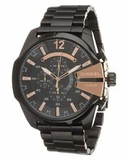 Brand New Diesel Mega Chief Black And Rose Gold Chronograph Watch  DZ4309