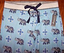 NWT PJ Salvage $68 Blue/Navy INDIAN ELEPHANTS Jersey Knit Pajama/Lounge Pants XL