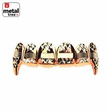 Hip Hop Vampire Fangs Rose Gold Plating Diamond Cut Top Teeth Grillz L020 C3 RG
