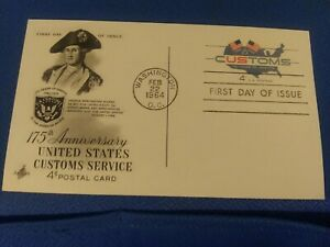 Scott # UX51 4 Cent. Embossed Postcard Honoring US Customs First Day Issue