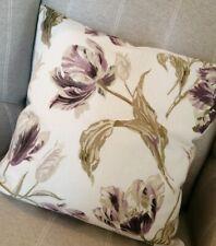 "16"" Laura Ashley Gosford Plum/Awning Stripe Grape Purple Fabric Cushion Cover"