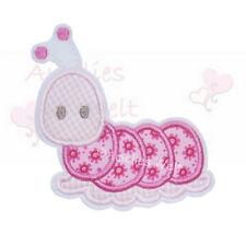 Raupe pink ros Aufbügler Aufnäher Bügelbild Patch Sticker zum aufbügeln schnecke