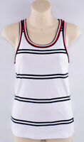 TOMMY HILFIGER Women's Cotton Vest Top, White/Blue/Red, size XS