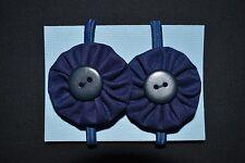 Girls navy blue school hair ties - handmade
