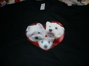 """West Highland Terriers Tee Shirt Plus Size 4XL Westies in Heart 58""""-60"""" chest"""