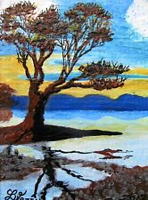 """A515  ORIGINAL ACRYLIC ACEO PAINTING BY LJH  """"REFLECT TREE"""" ONE-OF-A-KIND"""