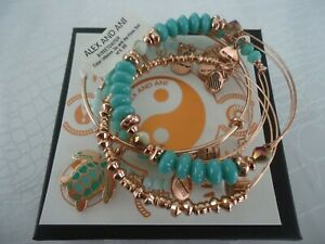 Alex and Ani TURTLE GO WITH THE FLOW Set Of 5 Rose Bangles New W/Tag Card & Box