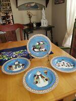 "Sakura Debbie Mumm 2000 Jolly Snowmen 8"" Salad/Dessert Plates Set of 4 NIB"