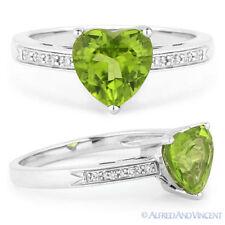 Right-Hand Promise Ring 14k White Gold 1.28 ct Heart-Shape Peridot Round Diamond
