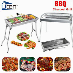 Folding BBQ Barbecue Grill Portable Charcoal Stove Camping Garden Outdoor Large