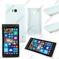 Housse Etui Coque Silicone Motif S Line Gel Souple Blanc Nokia Lumia 930 +Film