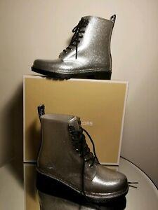 Michael Kors Tavie Silver Glitter Lace-Up Short Rain Boots Size 9