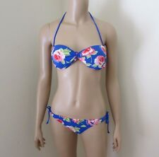 Abercrombie Womens Floral Bikini Size Medium Swimsuit Royal Blue