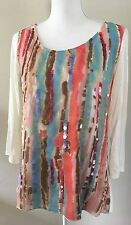 ND New Directions Ivory W/ Color Splash Semi Sheer Overlay Embellished Top