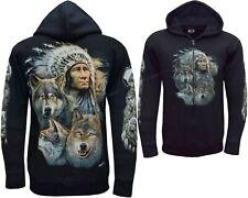 New Wolf Native American Red Indian Biker Zip Zipped Hoodie Hoody Jacket M -3XL