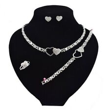Women Hugs & Kisses Xo Necklace Ring Bracelet Earrings set Gold Plated #11Silver