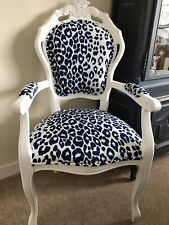 French Louis Style Navy Linen Leopard Print Arm Chair.