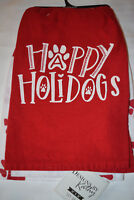 SET OF 2 KITCHEN DISH TOWELS HOLIDAYS CHRISTMAS DOG PAWS PRINT RED WHITE NWT