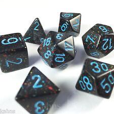 Chessex Dice Blue Stars Speckled Black w/ Blue Poly Set of 7 - 25338 - RPG D&D