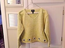 Ladies Green Pure Hand Knit Crop Sweater Size Small Medium