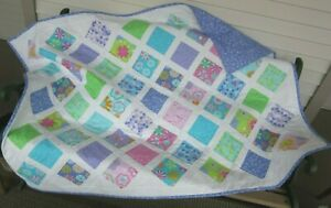 Small Quilt Pastel and Lavender Pieced Cotton Patchwork for Lap or Nap -Handmade