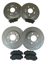 Full Set Front & Rear Brake Rotors + Ceramic Brake Pads For 97-01 Honda Prelude