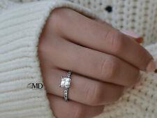 1 Carat Real Enhanced Princess Diamond Engagement Ring G-H/SI1 14K White Gold