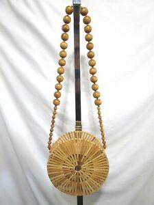 NWOT Bamboo Wood Round Bead Strap Circle Purse Shoulder Bag