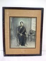Antique Black & White Charcoal Painting Of Marathi Lady Woman India Collectib *F