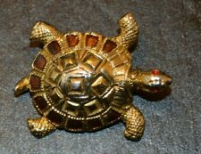 "vte Gold Tone   Figural Turtle Brooch Pin 1.5"" X 1.25"""