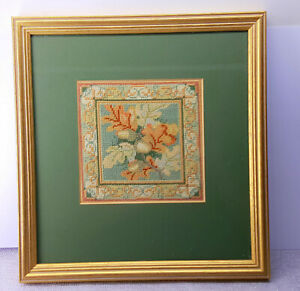 Hand embroidery framed picture Signed and dated. Acorns.