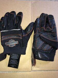 Harley-Davidson Mens Saddle B&S Mesh Perforated Reflective Black Leather Full M