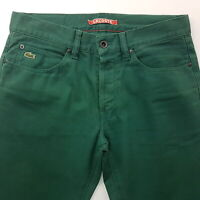 Lacoste  Mens Vintage Jeans W30 L31 Green Slim Fit Straight Low Rise
