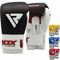 RDX Boxing Gloves Leather Quick-EZ Hook & Loop Diado Cuff MMA Fighting Muay Thai