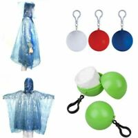 Hooded Travel Emergency Raincoat Poncho Rainwear Rain W/ Ball Keyring New J M1Q0