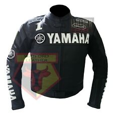 YAMAHA 0122 BLACK MOTORBIKE MOTORCYCLE BIKERS COWHIDE LEATHER ARMOURED JACKET