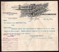 1903 Lithographers & Printers - Schmidt & Co - New York - Vintage Letter Head