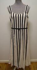 QUEENSPARK DRESS BEIGE BLACK LINEN BLEND DRESS, Sz 12