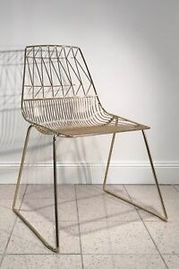 Cafe Restaurant Chairs Furniture Gold Feature Wire