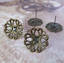 Pack of 10 Brass Filigree Ear Studs Earrings Earring components